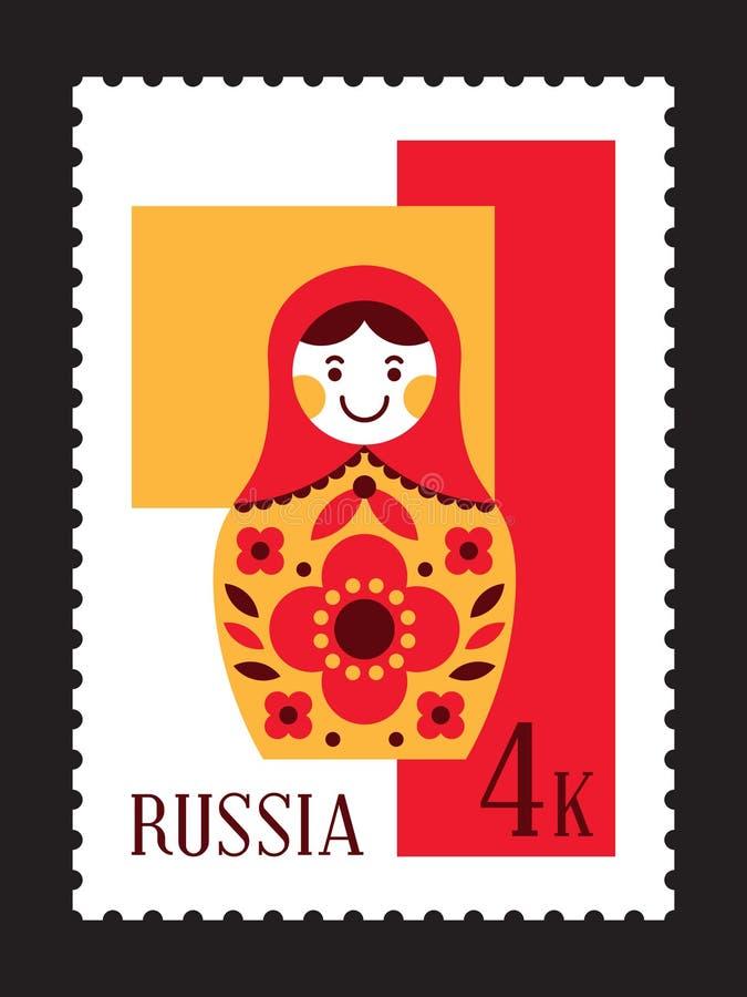 Der russischen Poststempel Verschachtelungs-Puppe Matryoshka lizenzfreie abbildung
