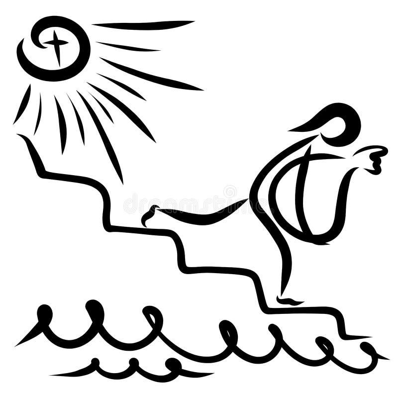 Der Sünder mit einer großen Tasche steigt die Treppe abwärts ab und bewegt sich stock abbildung