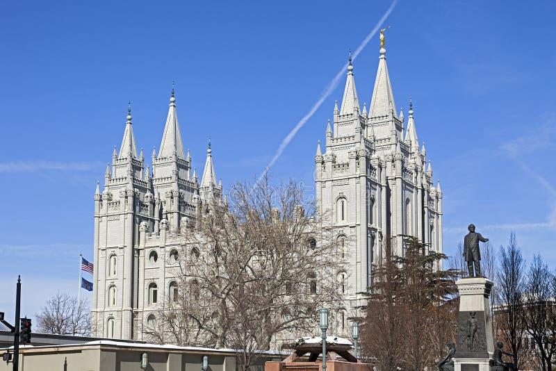 Der Salt Lake-Tempel in Utah stockbilder