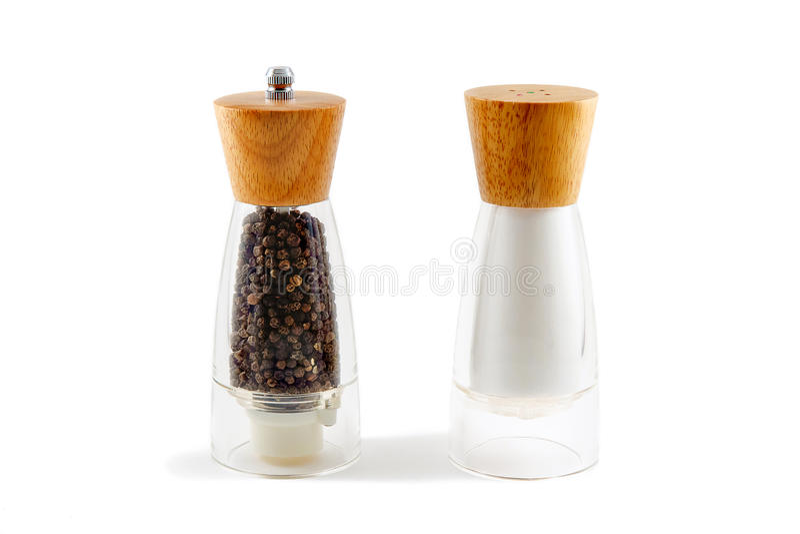 Der Salzschüttel-apparat und das papper lizenzfreie stockfotos