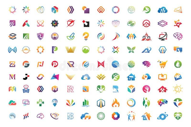 Der Sammlungszusammenfassung des Logos gesetzter Vektor ENV 10 der Mega- geometrischen Geschäfts-Ikone lizenzfreie abbildung