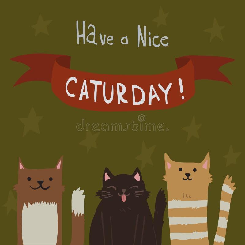 Der Samstag-Postkarte der Katze lizenzfreie abbildung