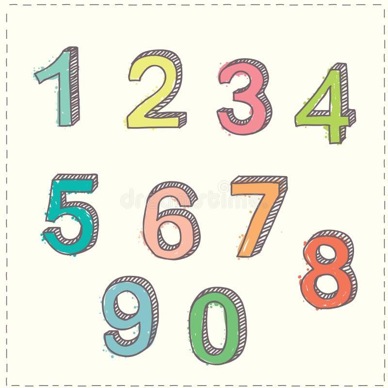 Der Satz der Hand gezeichnet skizziert Zahlen lizenzfreie abbildung