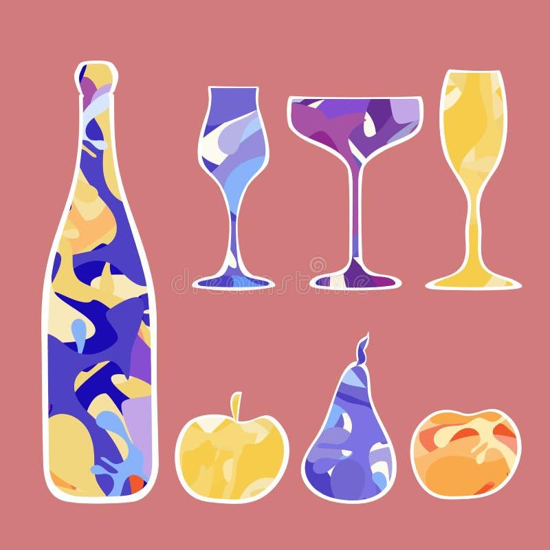 Der Satz des neuen Jahres Champagner und Frucht lizenzfreie abbildung