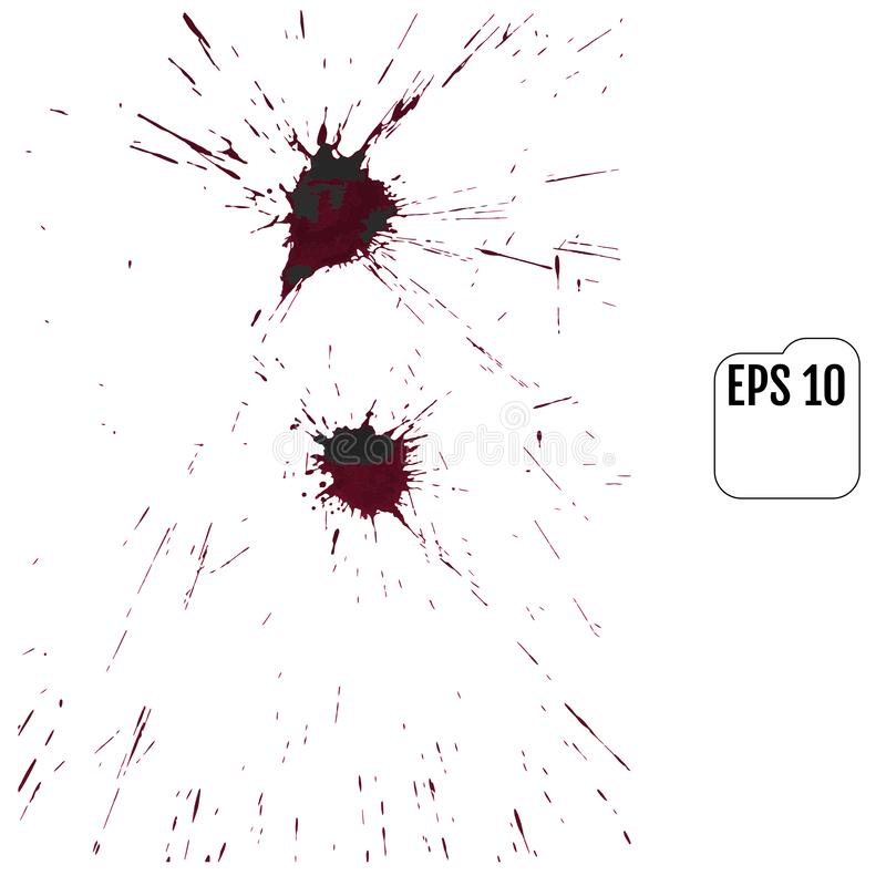 Der Satz des realistischen Vektors blutig plätschert Tropfen und Klecks des Bluts stock abbildung
