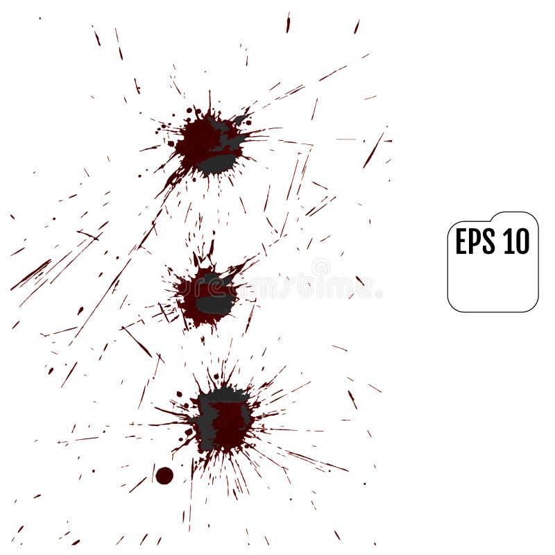Der Satz des realistischen Vektors blutig plätschert Tropfen und Klecks des Bluts vektor abbildung