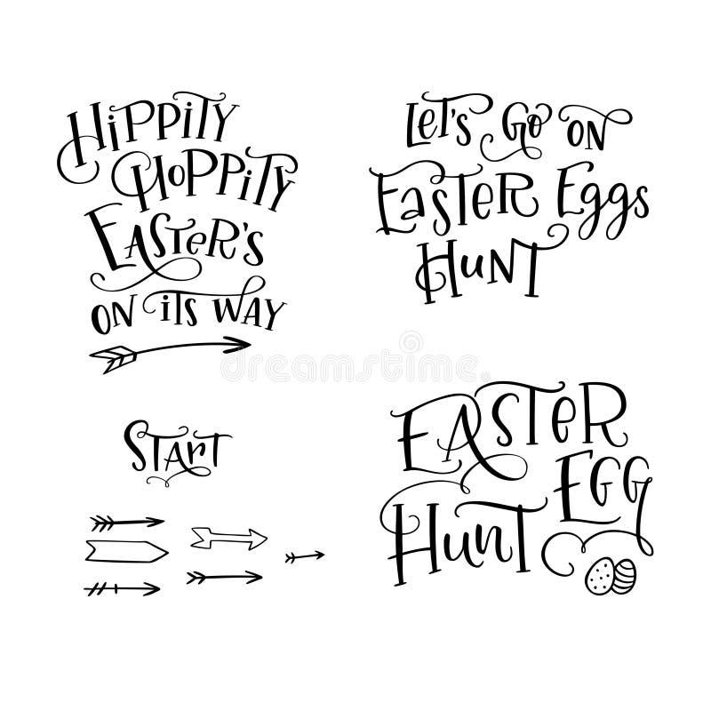 Der Satz der Hand gezeichnet, Phrase Osterei beschriftend zu jagen, Easters auf seiner Weise, Lets, gehen auf Osterei-Jagd, begin vektor abbildung