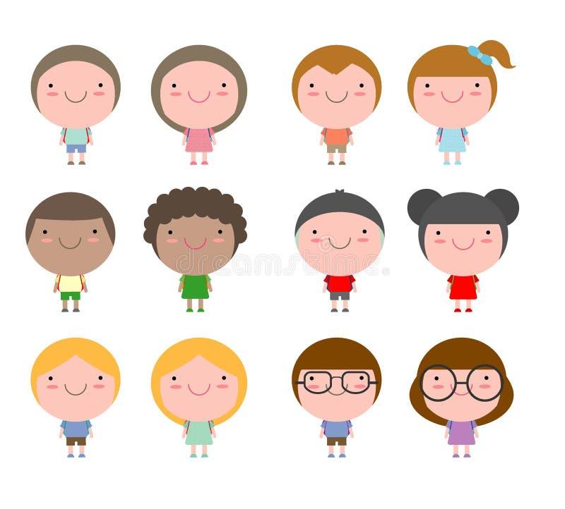 Der Satz verschiedene Kinder und verschiedene Nationalitäten lokalisiert auf weißem Hintergrund, nette Karikaturkinder gehen zur  stock abbildung