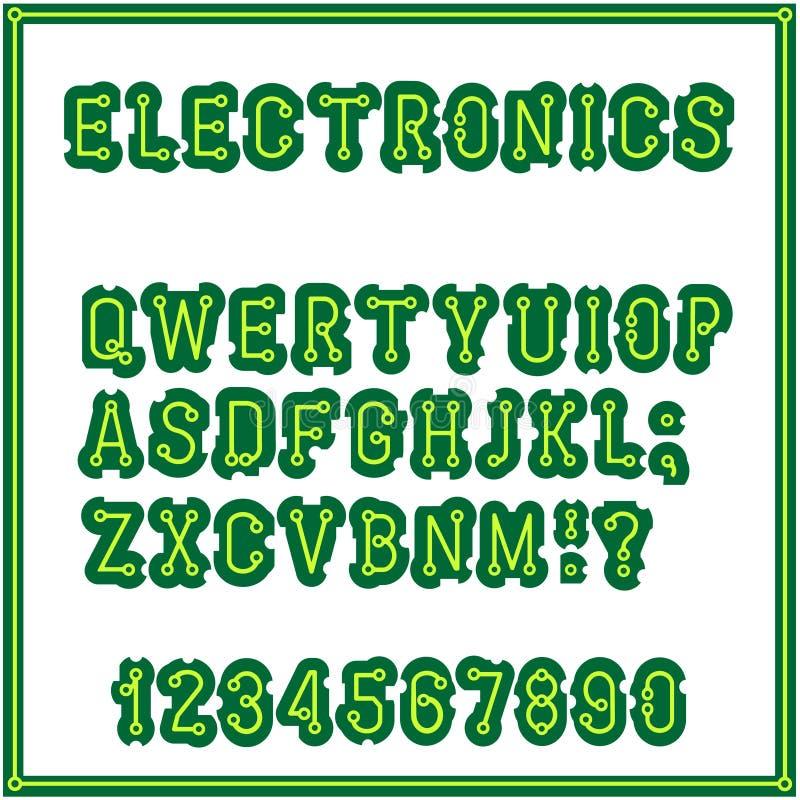 Der Satz von Buchstaben der Art der Leiterplatte Alphabet schriftkegel Elektronik industriell und inländisch lizenzfreie abbildung
