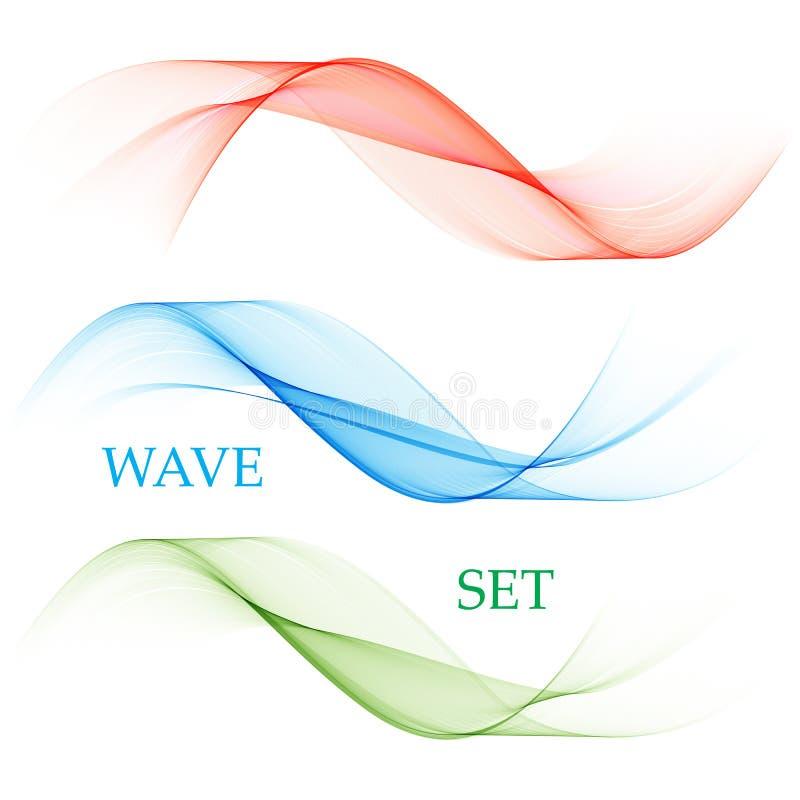 Der Satz von glatten Vektorlinien Entziehen Sie Wellen Blau, grün, rot lizenzfreie abbildung