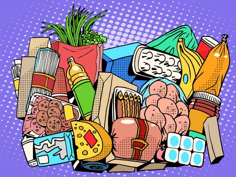 Der Satz von Produkten und von Lebensmittelwaren stock abbildung