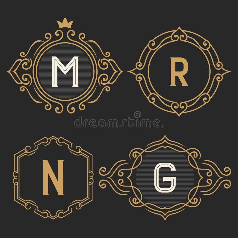 Der Satz von stilvollen Weinlesemonogrammemblem- und -logoschablonen lizenzfreie abbildung
