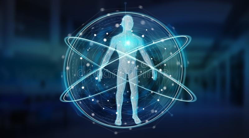 Der Scan-Hintergrundschnittstelle 3D des menschlichen Körpers Digital-Röntgenstrahls Wiedergabe stock abbildung