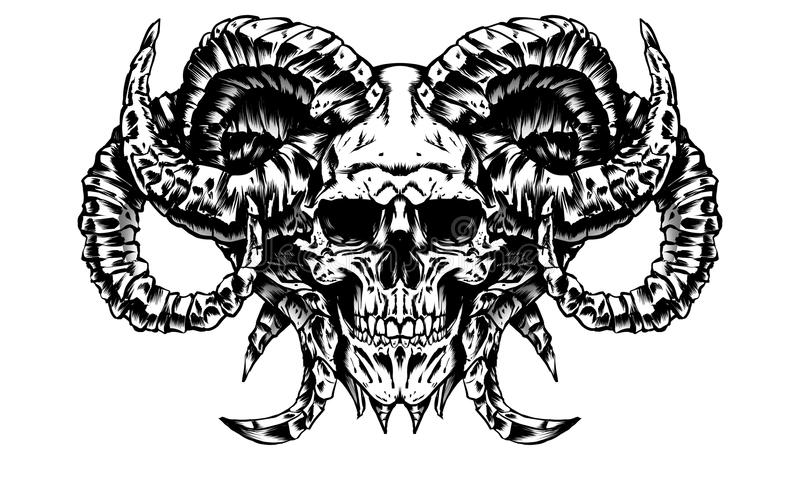 Der Schädel eines Dämons lizenzfreie abbildung