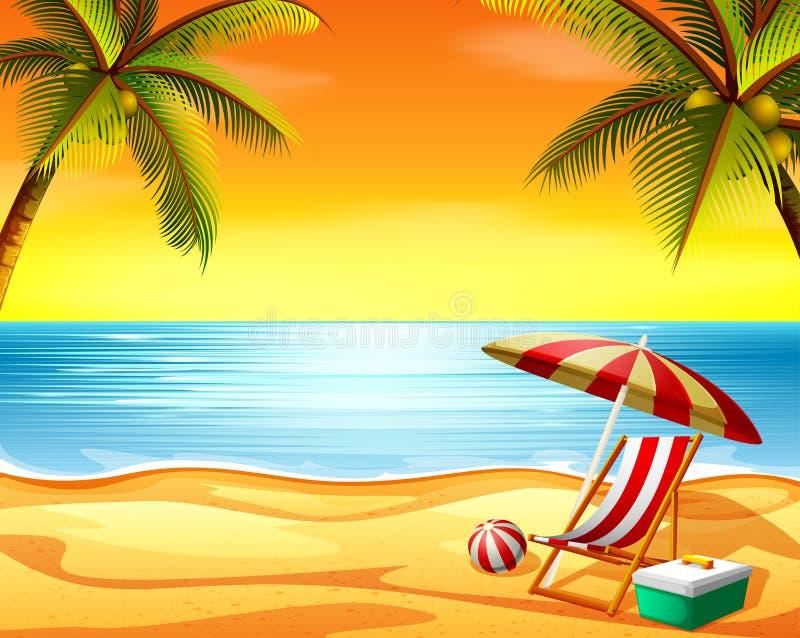 Der schöne Sonnenuntergangansichthintergrund im Strand mit dem Strandstuhl und den Kokosnussbäumen lizenzfreie abbildung
