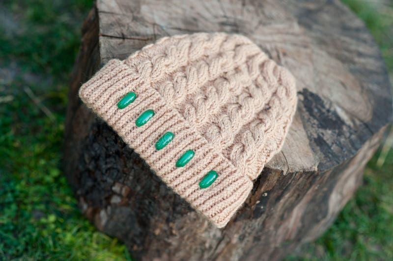 Der schöne warme woolen Hut der Frauen mit einem großen stricken Schuss im natürlichen Licht lizenzfreies stockfoto