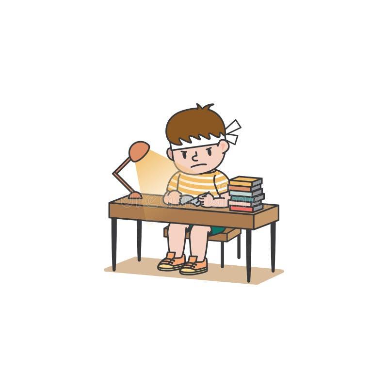 Der Schülerjunge hat hart und ernsthaft studiert Bücher und Lampen auf dem Schreibschreibvektor auf weißem Hintergrund lizenzfreie abbildung
