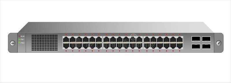 Der Schalter des Ethernets 1U für die Befestigung mit einem 19-Zoll-Gestell mit 40 Häfen, einschließlich vier Rückgrat stock abbildung