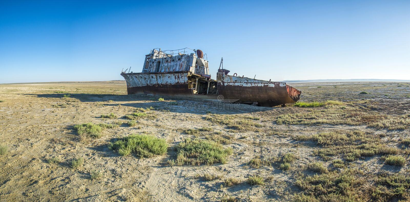 Der Schiffsfriedhof des Aralsees stockfotografie