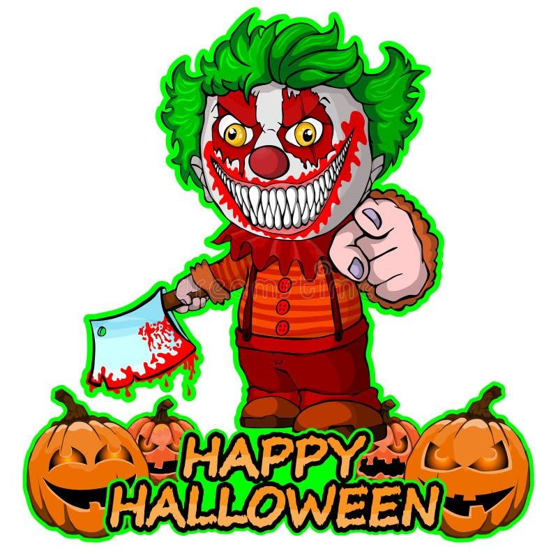 Der schlechte Clown, der ein knif hält, wünscht glückliches Halloween auf lokalisiertem weißem Hintergrund stock abbildung