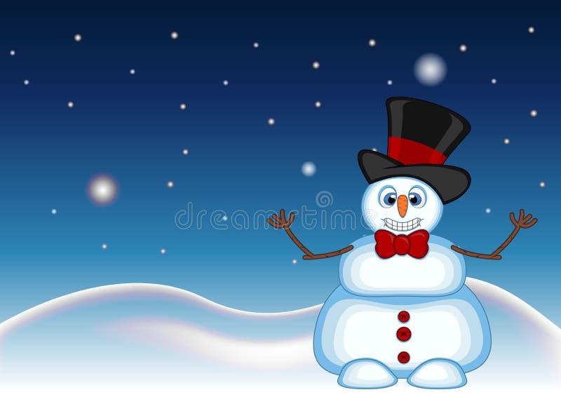 Der Schneemann, der einen Huthut und -Fliegen wellenartig bewegen seine Hand mit Stern-, Himmel- und Schneehügelhintergrund für I stock abbildung