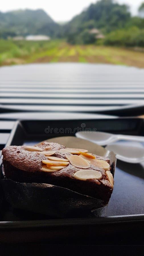 Der Schokoladenkuchen, der mit Mandeldias in der Floyd-Schale mit einem Plastiklöffel verziert wird, wird auf eine schwarze Kunst lizenzfreies stockfoto