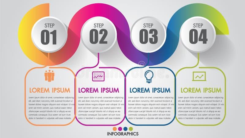 Der Schritt-Terminsgeschäft-Zeitachse Infographics-Diagramms 4 modernes kreatives mit der schrittweisen Ikone kann Vektor veransc vektor abbildung