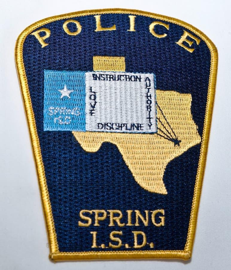 Der Schulterflecken für die Frühlings-unabhängige Schulbezirk-Polizeidienststelle stockfotos