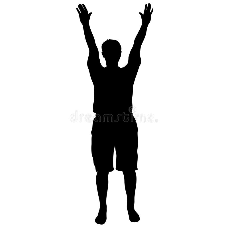 Der schwarze Schattenbildmann, der mit den Händen steht, hob, Leute auf weißem Hintergrund an stock abbildung