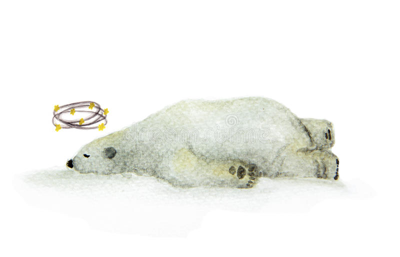 Der schwindlige Bär des handgemalten Aquarells, der Sterne, ein Eisbär mit Gelb sieht, spielt das Circleing um Kopf die Hauptroll vektor abbildung