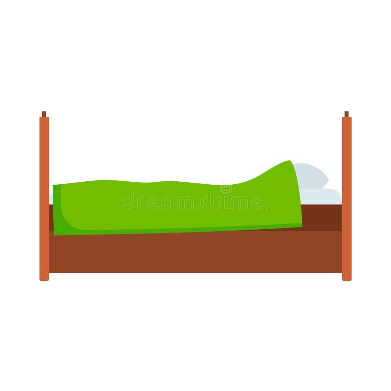 Der Seitenansichtvektorikone des Betts bequeme Wohnung Bettw?scheraumluxuspiktogramm-Matratzeninnenraum Flaches Holzm?bel vektor abbildung