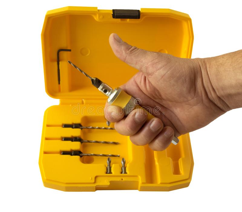 Der Senkersatz besteht aus einer Düse für eine schnelle Änderung des Bohrers und des Satzes austauschbarer Senkerbohrgeräte stockbild