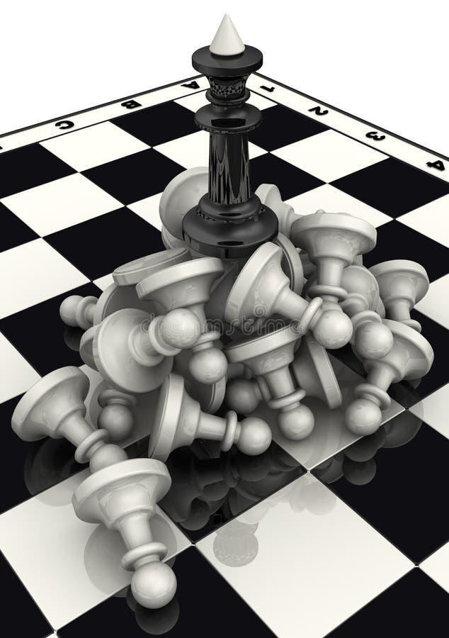 Der Sieg der schwarzen Schachfiguren lizenzfreie abbildung