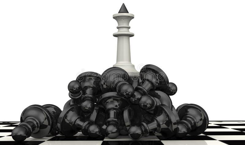 Der Sieg der weißen Schachfiguren stock abbildung