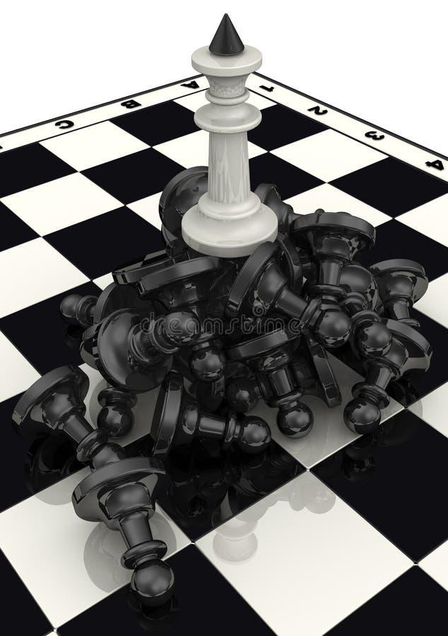 Der Sieg der weißen Schachfiguren vektor abbildung
