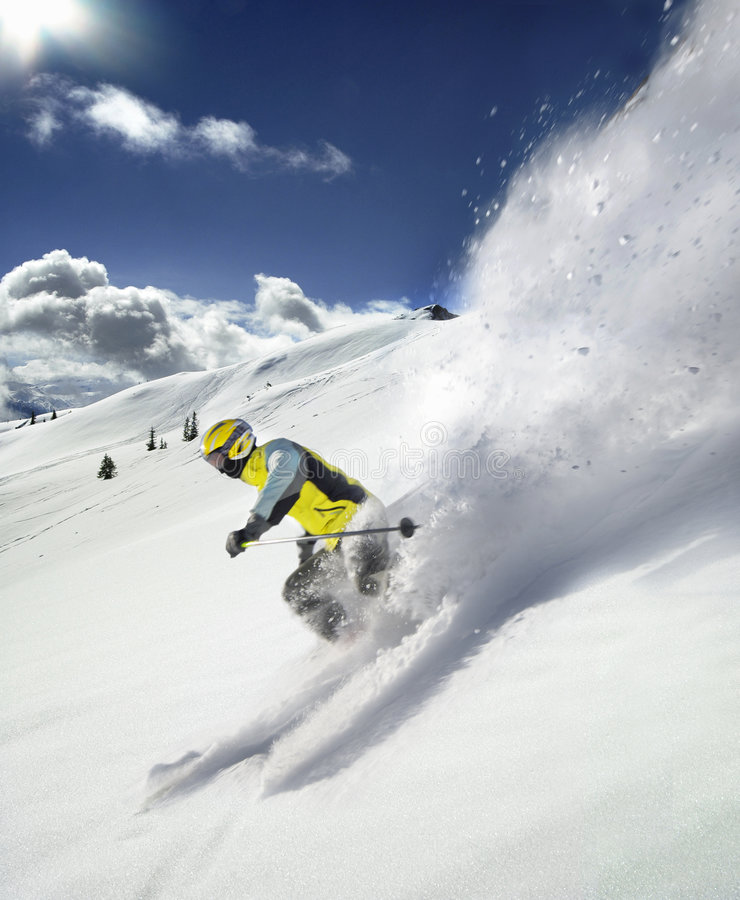 Der Skifahrer stockfotografie