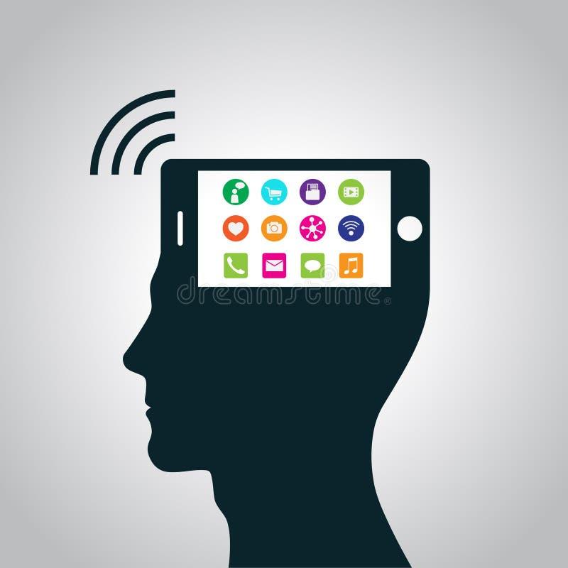 Der Smartphone hat einem Teil eines menschlichen Kopfes hat ersetzt Bewusstsein gestanden lizenzfreie abbildung