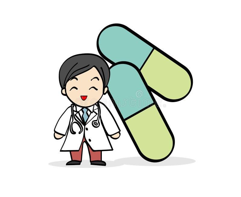 Der Smiley Doctor Cartoon-Charakter mit grüner Kapselmedizin lizenzfreie stockfotos