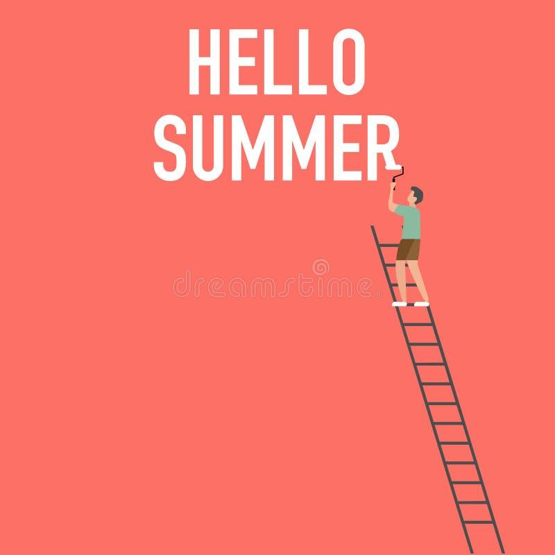 Der Sommer-Werbung des Mannes malender lebender korallenroter Hintergrund lizenzfreie abbildung