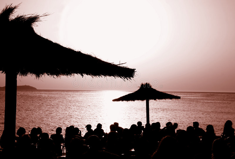 Der Sonnenuntergang-@ Kaffee Del Mar, Ibiza lizenzfreie stockfotografie