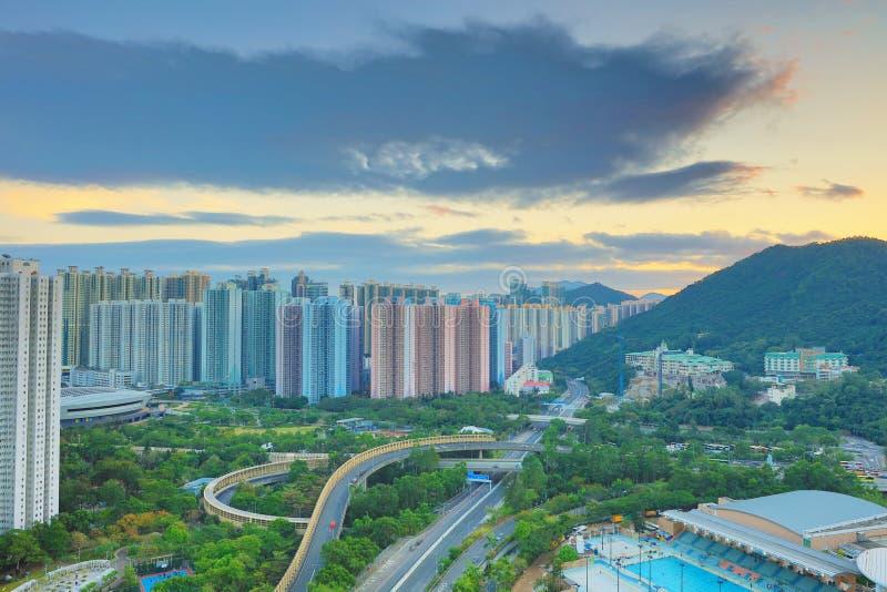 der Sonnenuntergang von PO Shun Road an TKO stockfoto