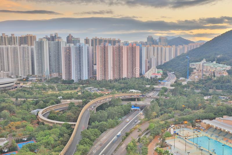 der Sonnenuntergang von PO Shun Road an TKO stockbilder