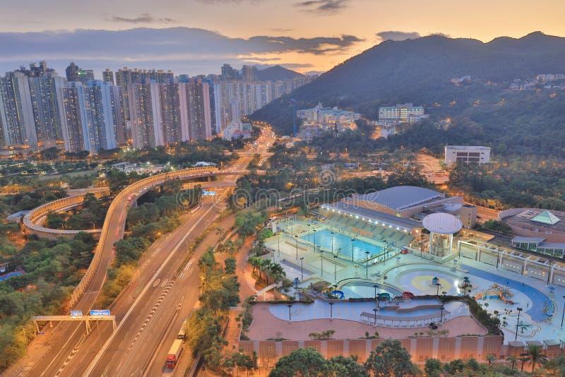 der Sonnenuntergang von PO Shun Road an TKO stockfotografie