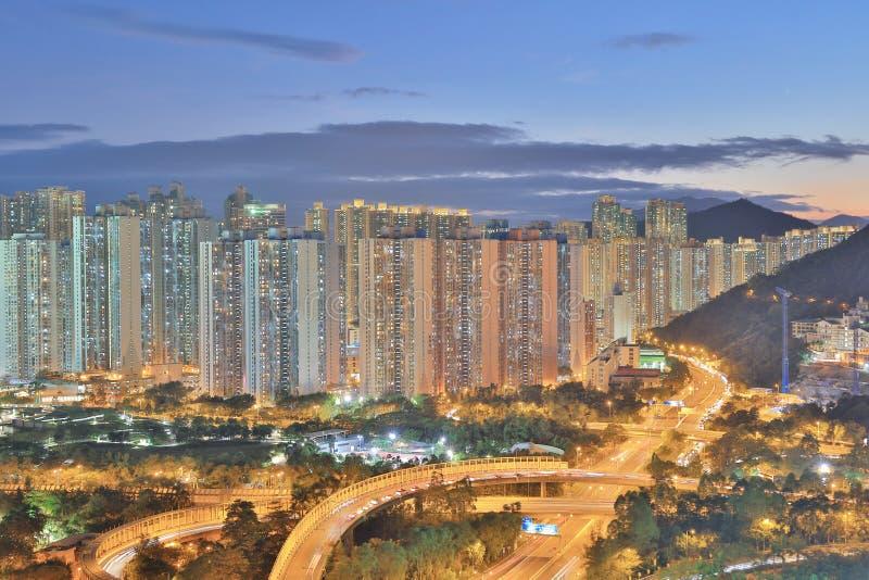 der Sonnenuntergang von PO Shun Road an TKO stockbild