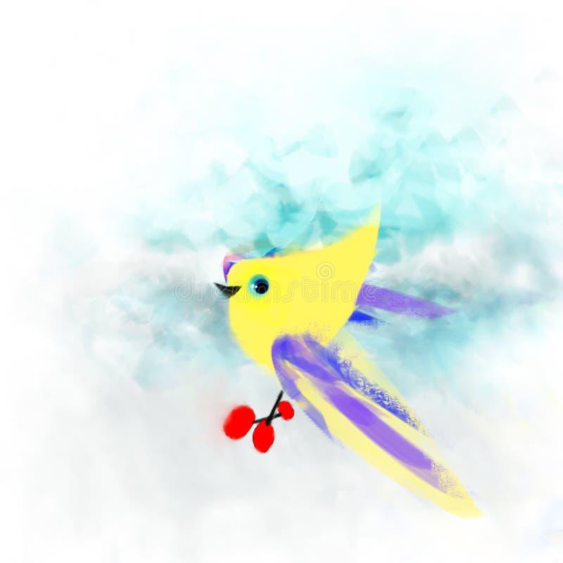 Der Sonnenvogel trägt Beeren zu den Küken lizenzfreie stockbilder