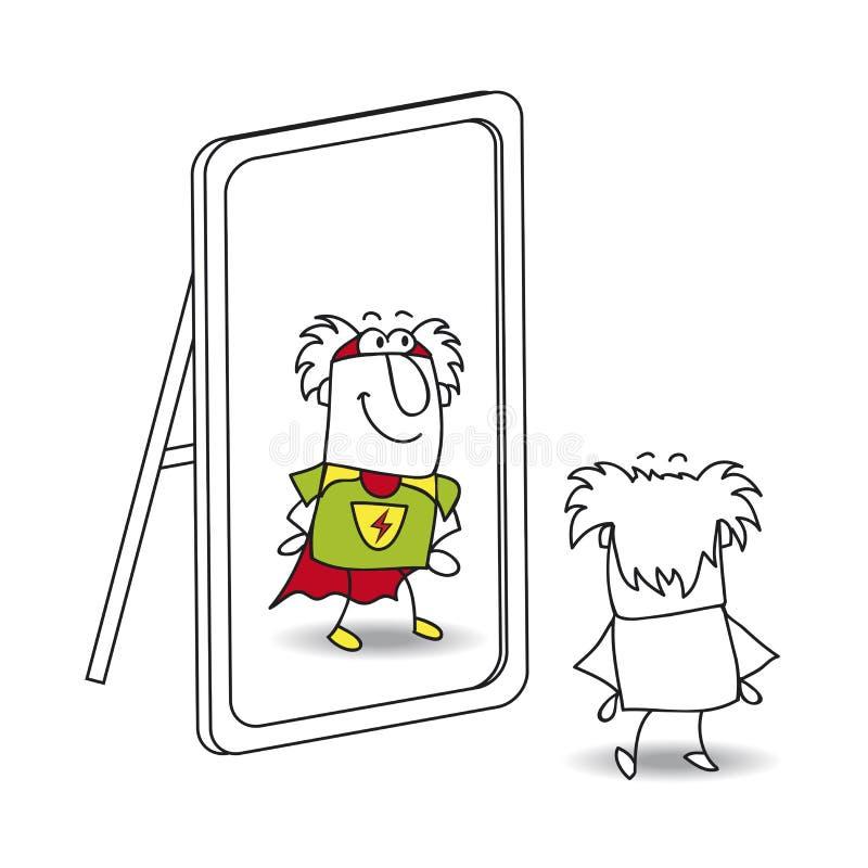 Der Spiegel und der Großvatersuperheld lizenzfreie abbildung