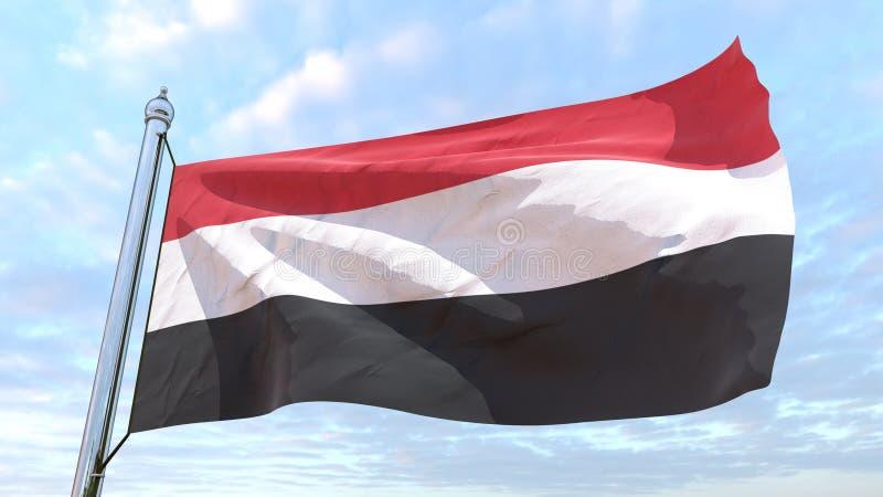 Der spinnende Landesflagge Jemen lizenzfreie abbildung