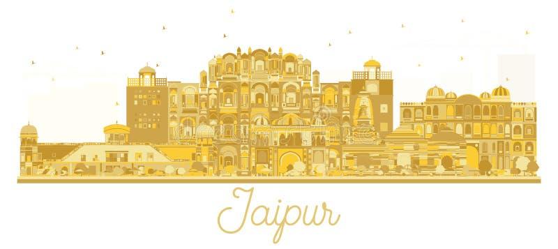 Der Stadt-Skyline Jaipurs Indien goldenes Schattenbild lizenzfreie abbildung