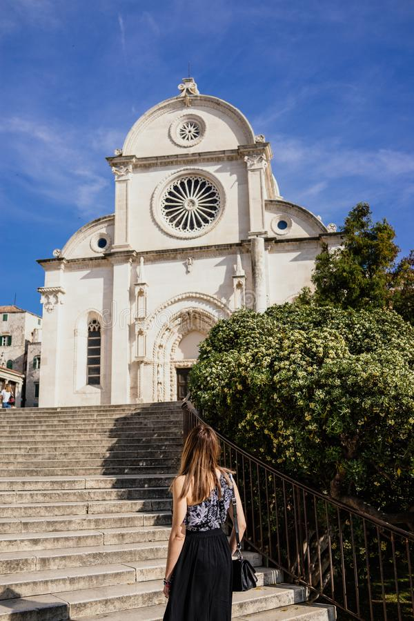 In der Stadt von Sibenik, Kroatien stockfoto