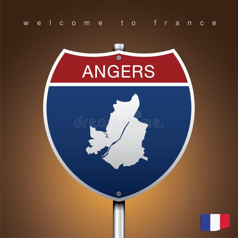 Der Stadtaufkleber und die Karte von Frankreich in der amerikanischen Zeichen-Art vektor abbildung